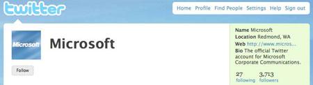 Siguiendo a Microsoft en Twitter