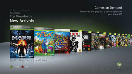 Lista de Games on Demand de Xbox Live
