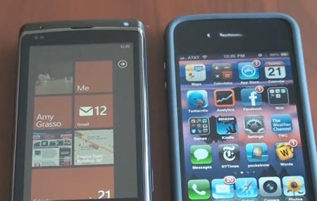 iPhone vs Windows Phone 7 en video