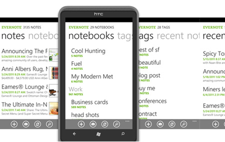 Evernote para Windows Phone 7