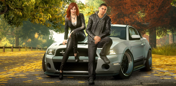 Christina Hendricks y Sean Faris en Need for Speed The Run