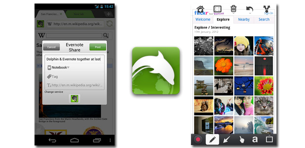Evernote y Skitch en Dolphin browser