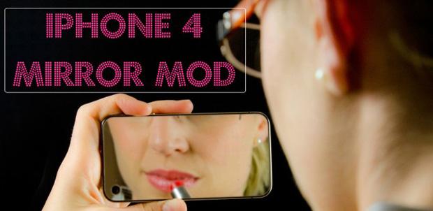 iPhone 4 como espejo para mujeres