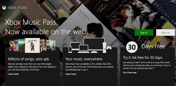 Xbox Music ahora en tu navegador web