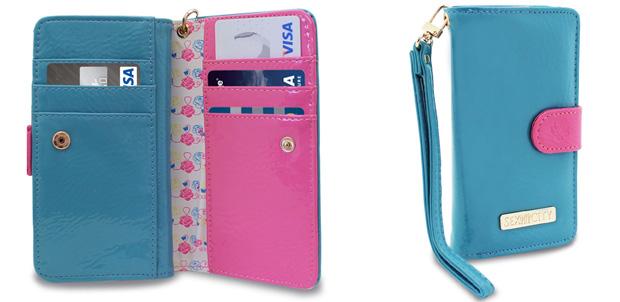 La cartera para guardar tarjetas y el iPhone