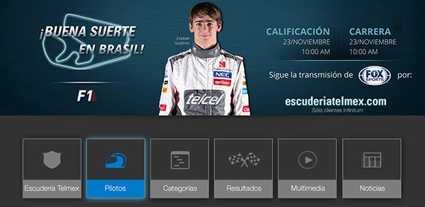 Escudería Telmex en una Samsusng Smart TV