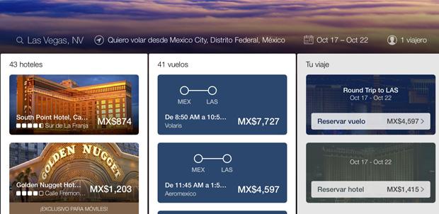 Nuevo diseño de Expedia.mx para las tablets