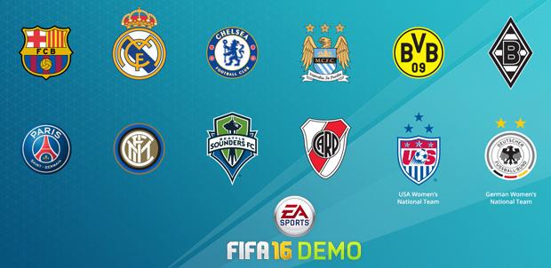Juega con estos 10 equipos en la demo de FIFA 16