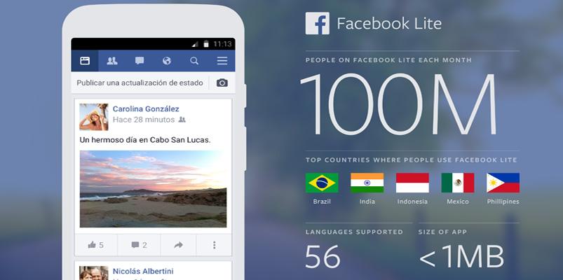 Facebook Lite cuenta ya con 100 millones de usuarios