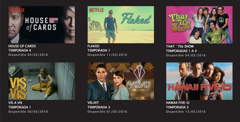 Series 2016 Netflix marzo