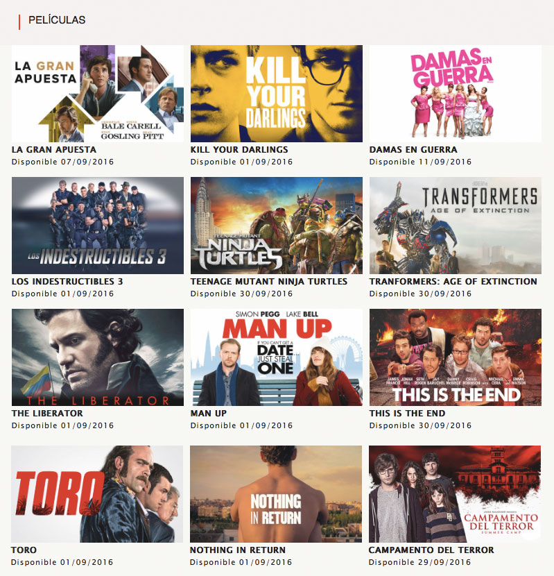 Netflix Peliculas Septiembre 2016