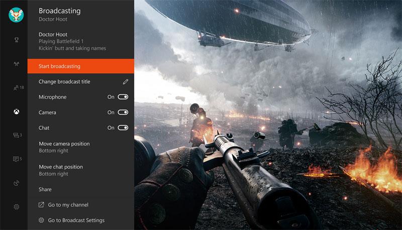 Beam Broadcasting Xbox One