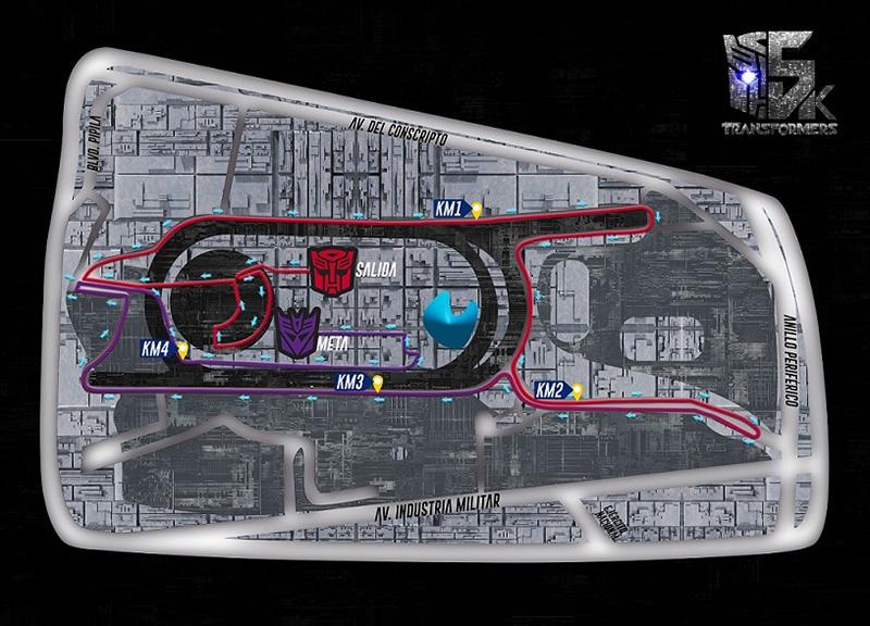 Carrera nocturna Transformers mapa