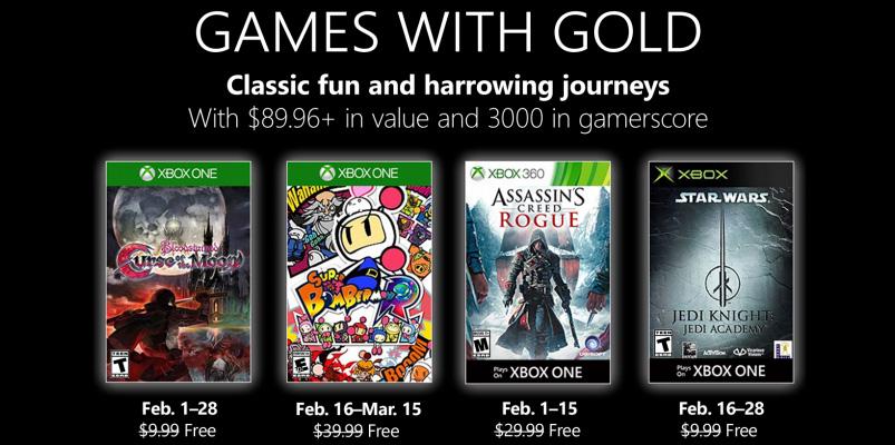 Ya están listos los Games with Gold de febrero de 2019
