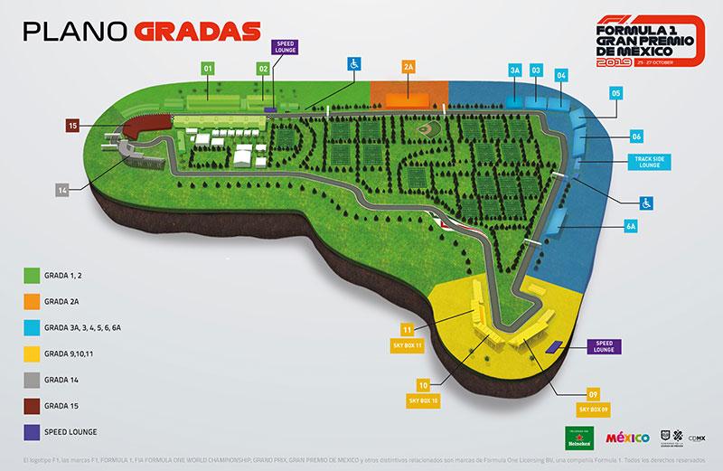 Mapa GP Mexico Grada 3A 2019