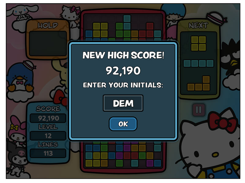 Tetris X Sanrio score