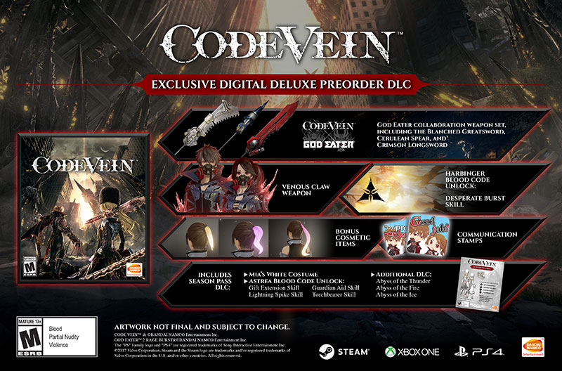 Code Vein Digital Deluxe Edition contenido