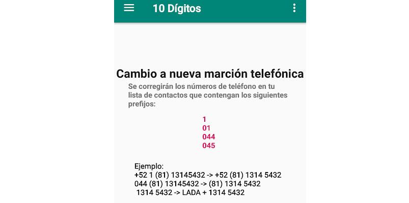 10 digitos app Mexico