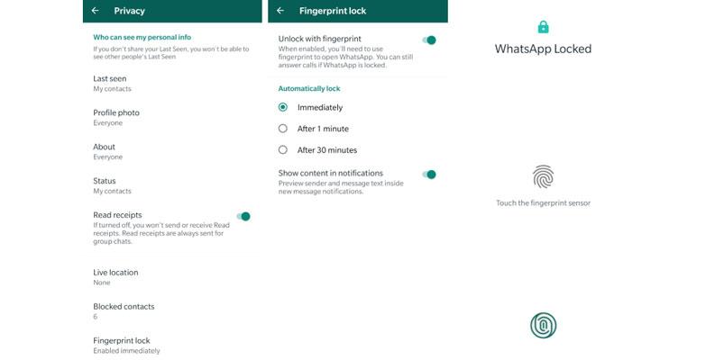 Proteger conversaciones huella WhatsApp
