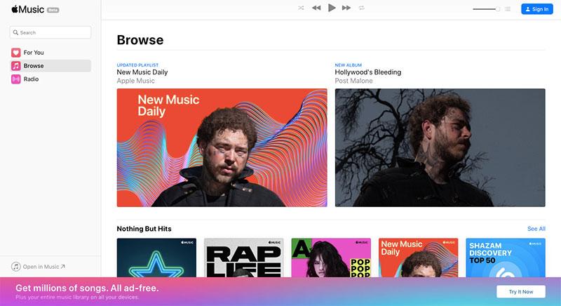 Apple Music navegador web