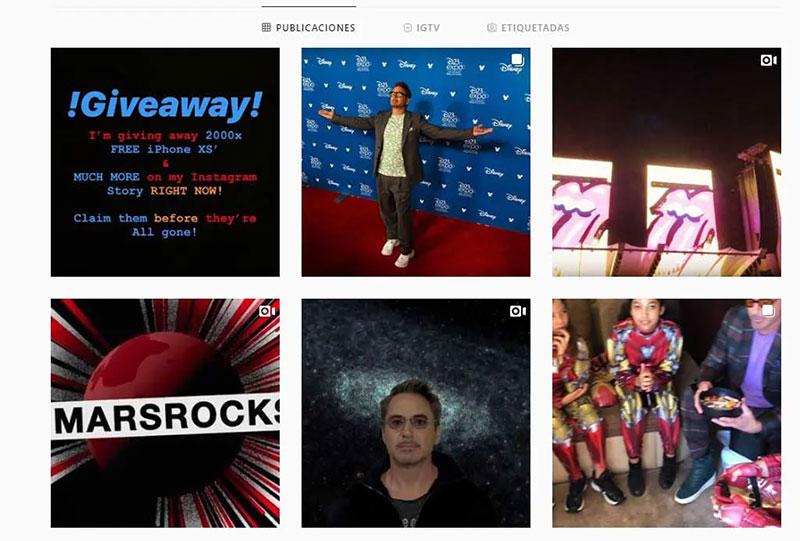 Robert Downey Jr hackeado instagram