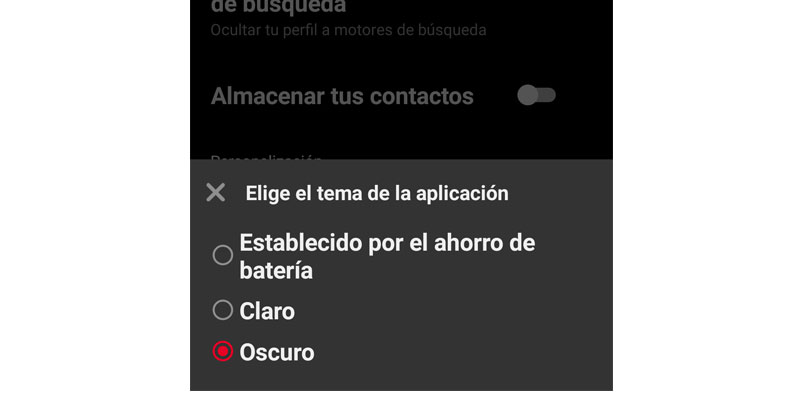 Tema oscuro Pinterest Android