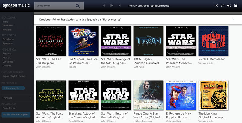 Amazon Music Disney canciones