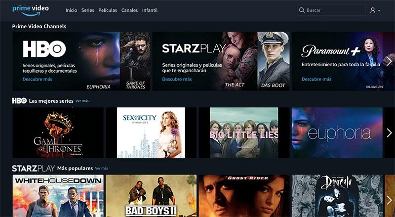 Amazon Prime Video Channels Mexico contenido