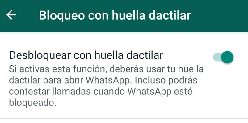 Bloqueo huella dactilar WhatsApp