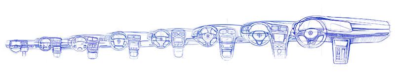 Volkswagen Golf 2020 bocetos interior