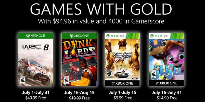 Los Games with Gold que estarán llegando durante julio 2020