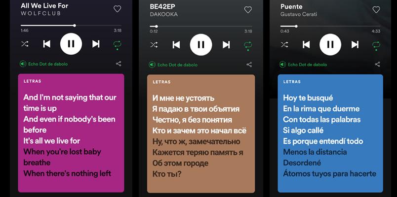 Letras Spotify idiomas