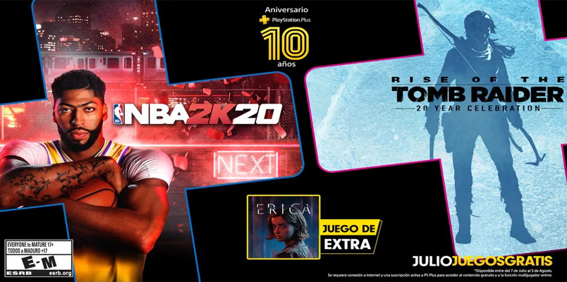 NBA 2K20 y Rise of the Tomb Raider gratis con PlayStation Plus