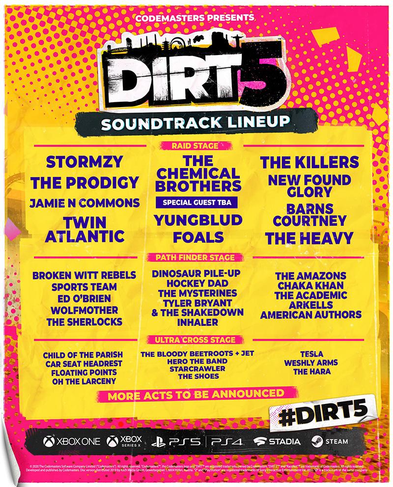 DIRT5 Soundtrack lista