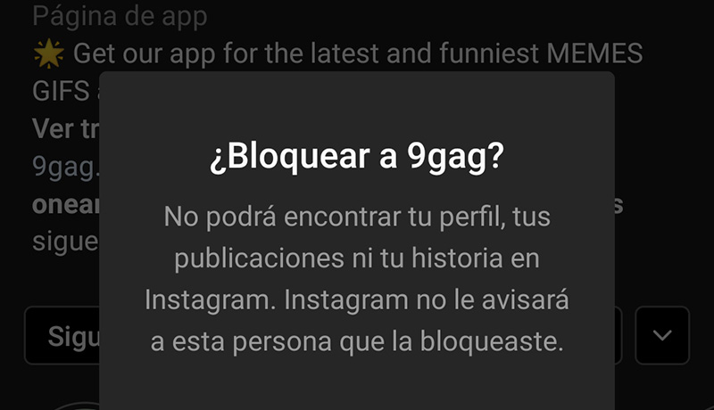 Bloquear Cuenta Instagram
