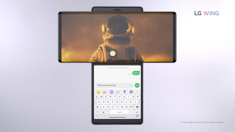 LG Wing video chat