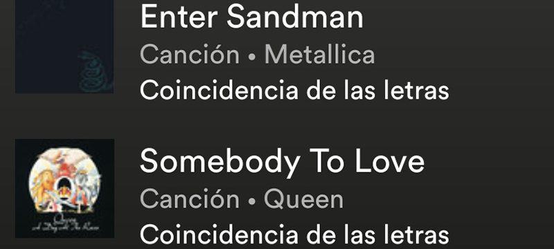 Busca canciones por letra Spotify