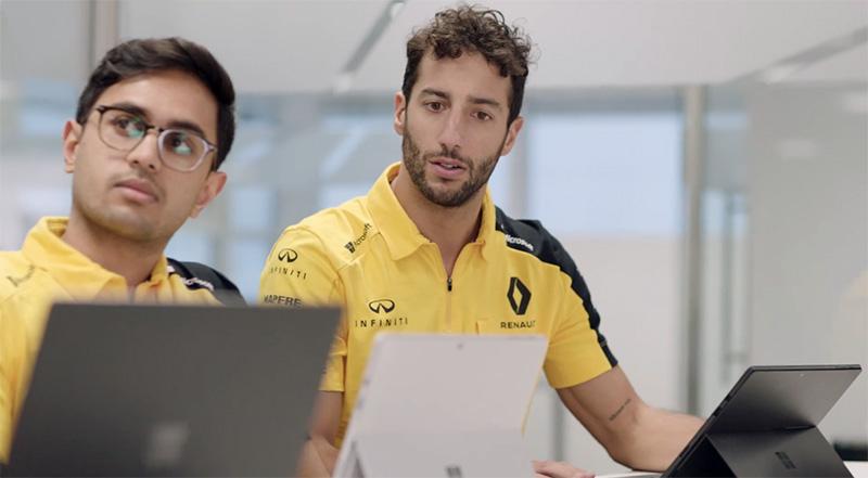 Renault DP World F1 Team explota al máximo las Microsoft Surface