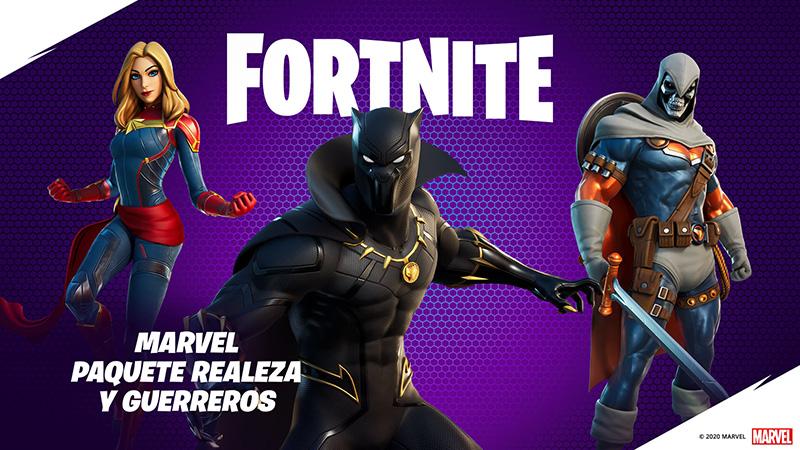 Fortnite paquete Marvel realeza y guerreros
