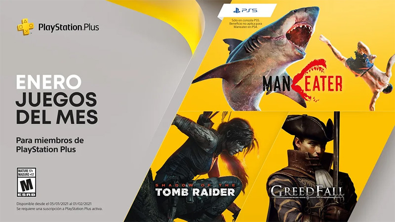 Maneater y Shadow of the Tomb Raider gratis en PlayStation Plus