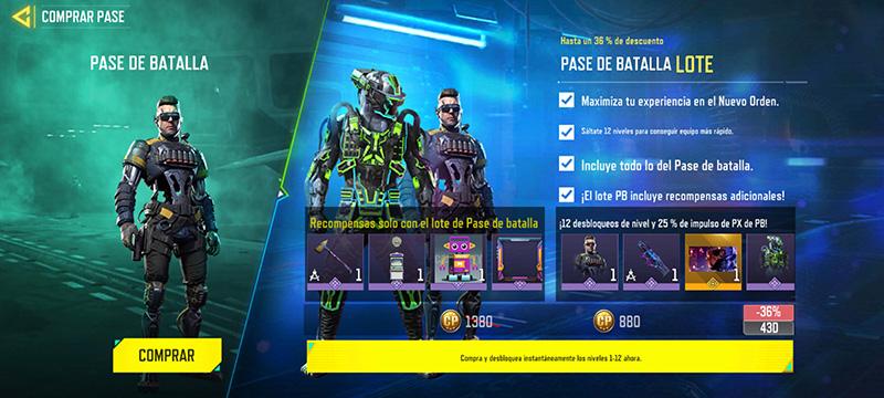 Call of Duty Mobile Nuevo Orden Precio Pase de Batalla Lote