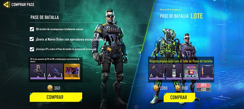 Call of Duty Mobile Nuevo Orden Precio Pase de Batalla