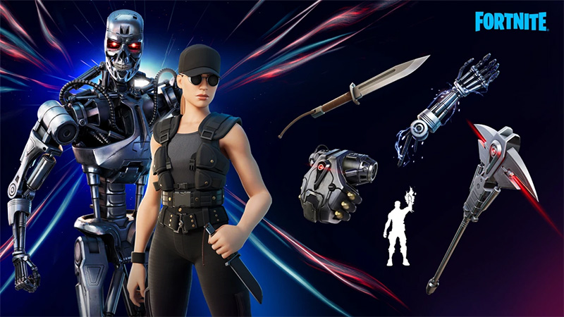 Sarah Connor T-800 Fortnite conjunto