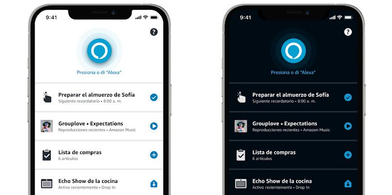 La aplicación de Alexa será compatible con el modo obscuro