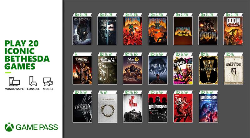 Bethesda 20 juegos Xbox Game Pass