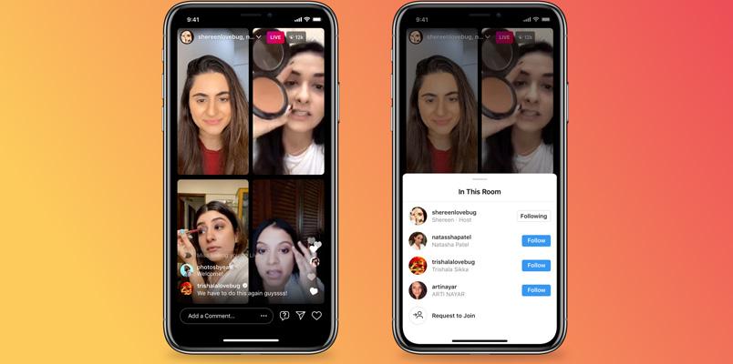 Instagram presenta Salas en vivo: Lives con hasta 4 personas