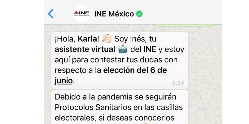 INE Elecciones 2021 WhatsApp INES