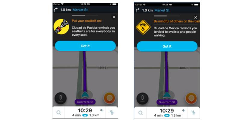 Waze presenta los mensajes de seguridad de Waze for Cities