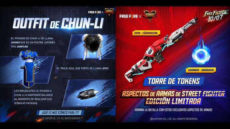 Free Fire x Street Fighter V contenido