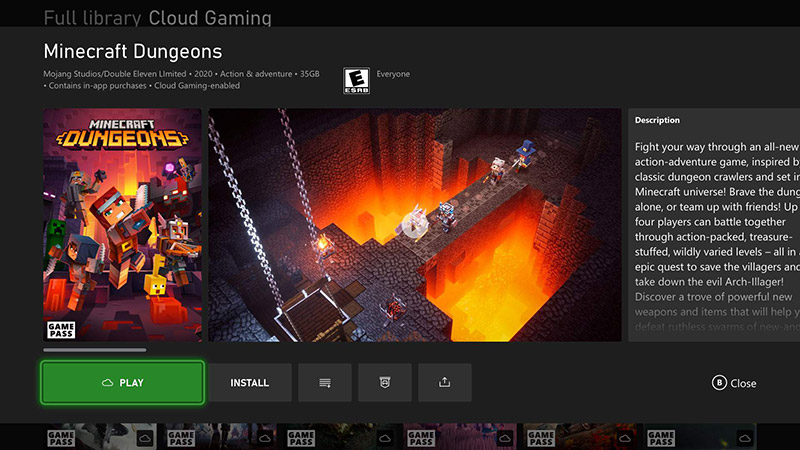 Xbox Cloud Gaming Minecraft Dungeons
